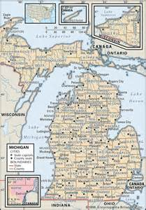 Michigan Counties Map with Cities