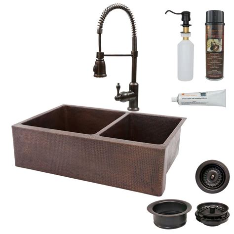 bronze sinks kitchen premier copper products all in one undermount copper 33 in 1822