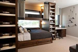 Queen bed under loft bed transitional boy39s room for Bedroom ideas for teenage guys 2