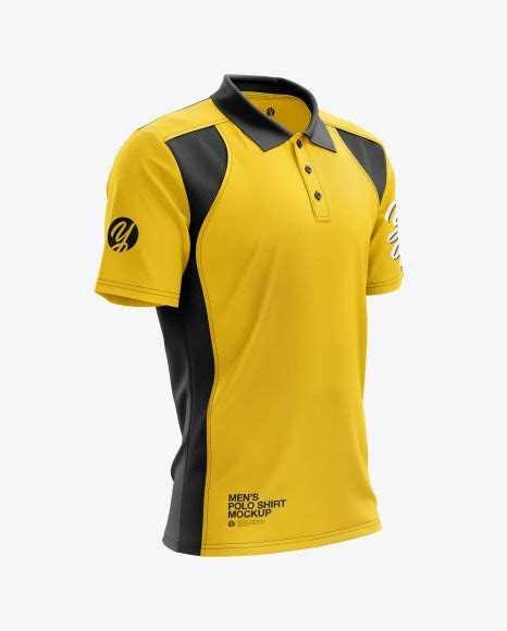 Fully customizable psd mockup template. Men's Club Polo Shirt mockup (Right Half Side View ...