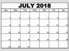 Download July 2018 Printable Calendar Word