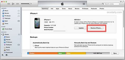 restore iphone from itunes how to remove other data stored on the iphone