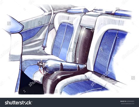 Design Sketching Interior Sports Car Coupe Stock
