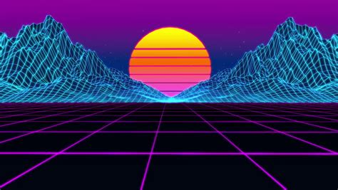 Animation Grid, 80s Retro Scifi Background Cyberpunk