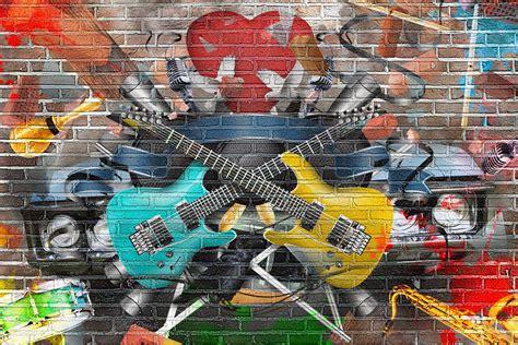 Grafiti Gitar : Music Theme Wallpaper Designs For Walls