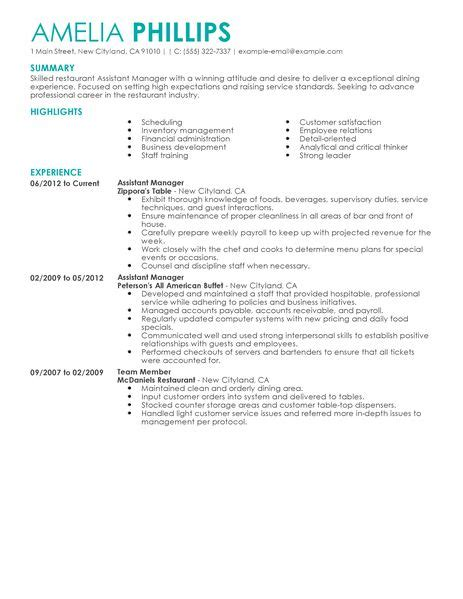 best restaurant assistant manager resume exle livecareer