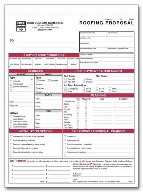 printable roofing estimate sheet roofing forms