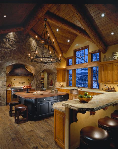 kitchen island tables with stools mountain lodge traditional kitchen by