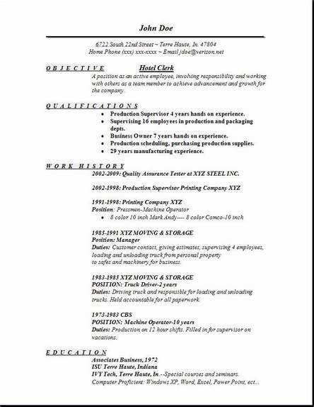 Hotel Resumes by Hotel Clerk Resume Occupational Exles Sles Free