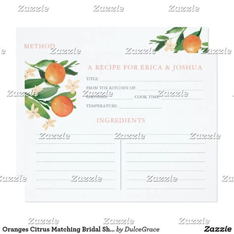 Oranges Citrus Matching Bridal Shower Recipe Cards