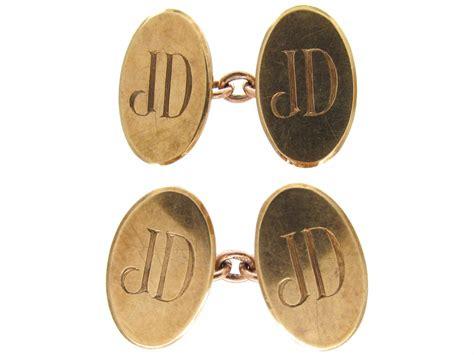 ct gold monogrammed cufflinks  antique jewellery company