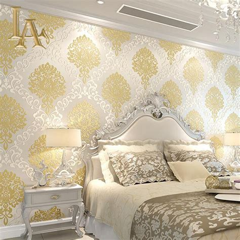 classic european embossed gold glitter damask wallpaper