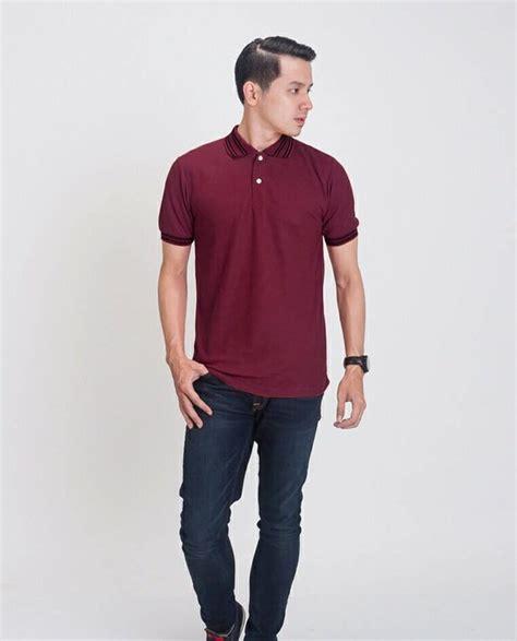 jual beli terbaru baju kaos kerah polo shirt pria merah