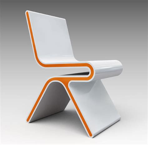 fashionable white chair with orange lines furniture