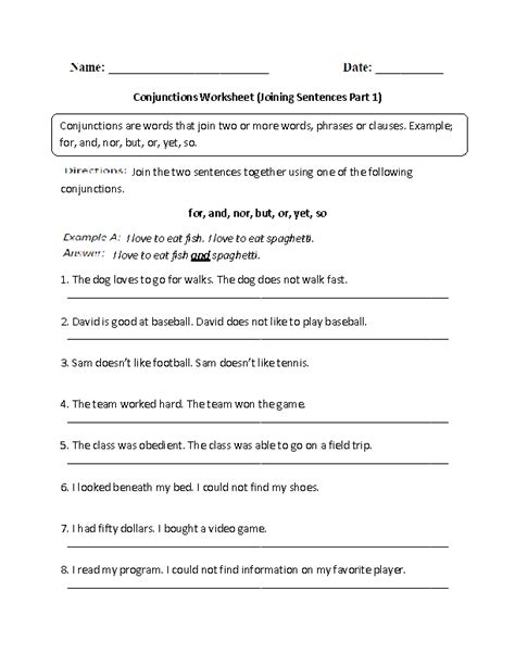 conjunctions worksheets with answers grade 6 conjunctions worksheet joining sentences intermediate