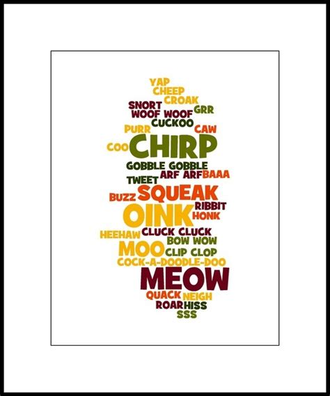 onomatopoeia word collage idea word collage art print animal sounds  word collage