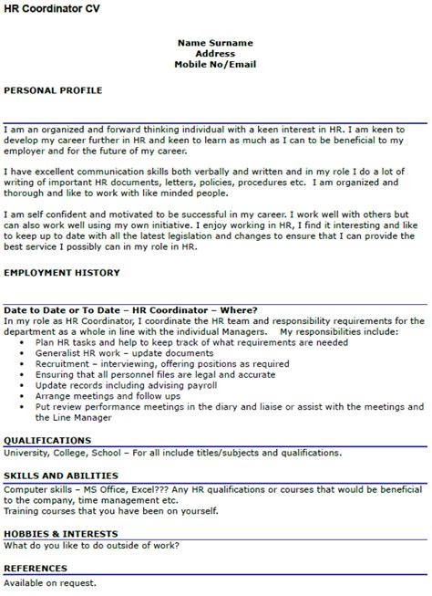 Exle Of A Written Cv Application by Hr Coordinator Cv Exle Icover Org Uk