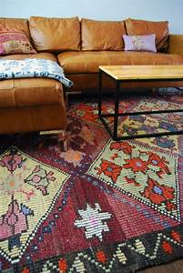Kilim rug ethnic living pinterest tan leather tan for Sectional couch with rug