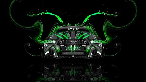 tony kokhan monster energy logo ford mustang gt muscle car front green