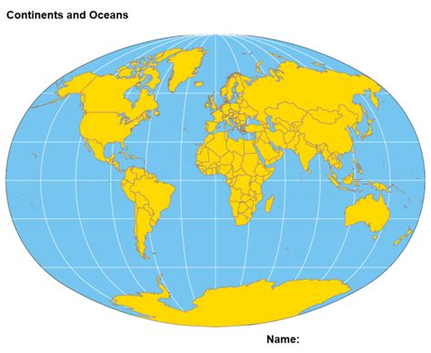 World Map With Countries And Oceans Labeled