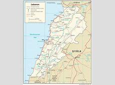 Liban Mapa , Mapy Libanu Travelin