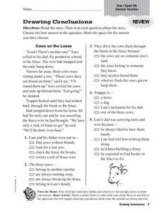 Drawing Conclusions Worksheet For 3rd  4th Grade  Lesson Planet