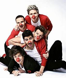 One Direction pose for Red Nose Day | Goodbye Zayn ...