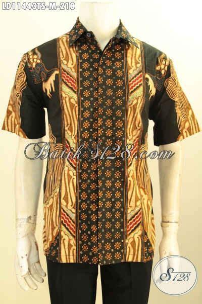 baju batik elegan lengan pendek untuk lelaki muda pakaian batik trendy desain motif bagus dan