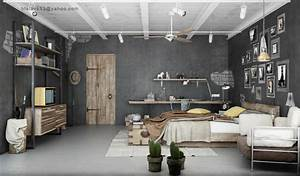industrial bedrooms interior design interior decorating With industrial design ideas for home