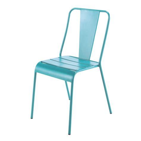 chaise en metal chaise de jardin en métal bleue harry 39 s maisons du monde