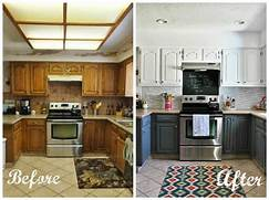 Painted Kitchen Cabinets Before And After Grey by Remodelaholic Grey And White Kitchen Makeover