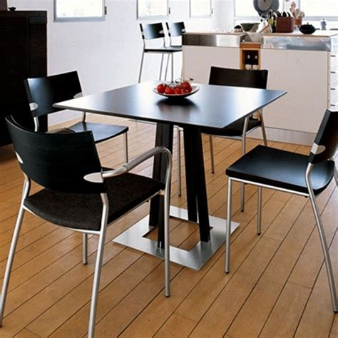 black square kitchen table minimalist dining room design with black small square
