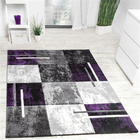 designer teppich karo grau lila meliert teppich de