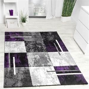 Teppich Grau Lila : designer teppich karo grau lila meliert design teppiche ~ Indierocktalk.com Haus und Dekorationen