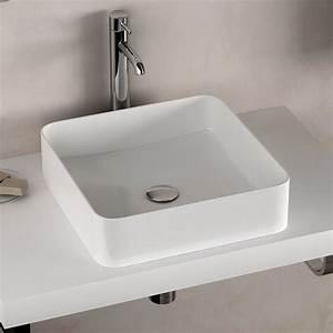 vasque a poser carree 40x40 cm ceramique extra fine delicate With vasque carrée à poser salle de bain