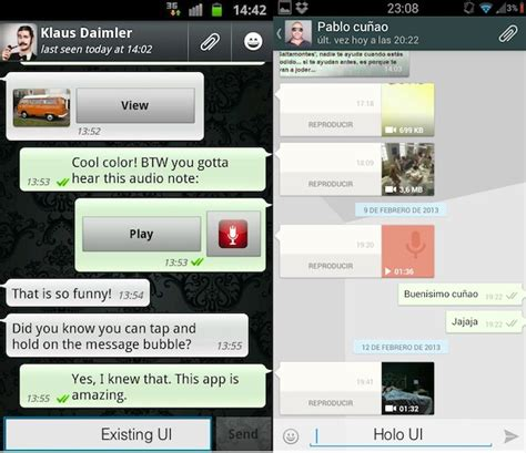 whatsapp for android gets a new beta version brings holo ui technology news