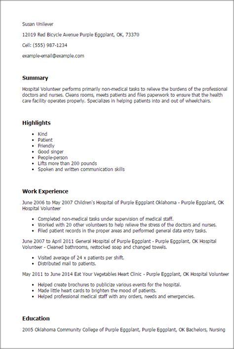 professional hospital volunteer templates  showcase