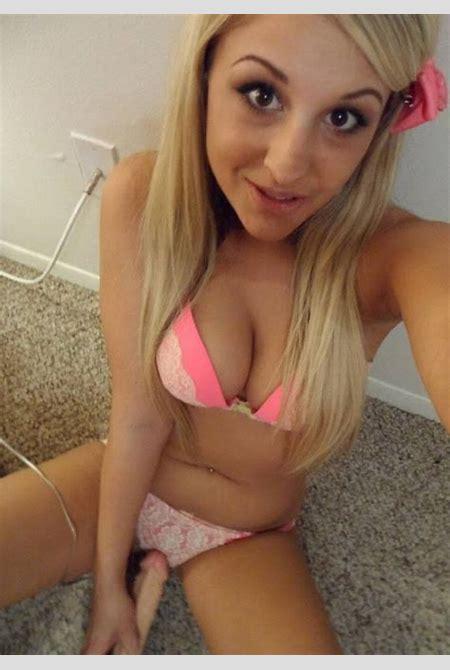 Blonde coed takes selfies in her pink bra and panties - Coed Cherry