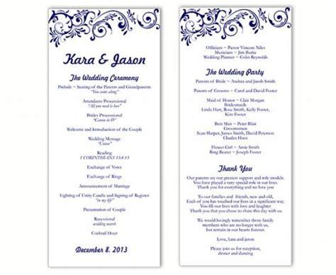 wedding program template diy editable text word file program midnight blue wedding - Wedding Program Template Text