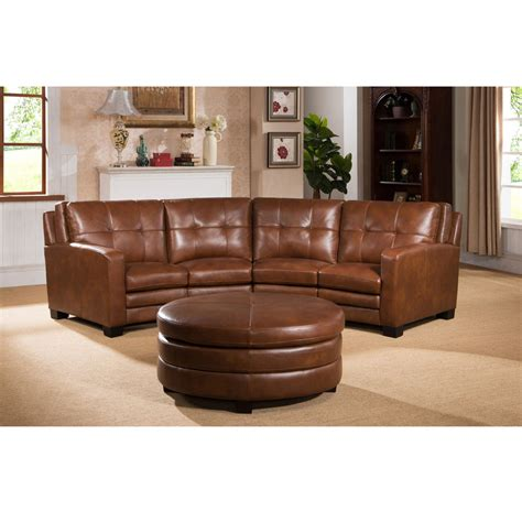 Oakbrook Brown Curved Top Grain Leather Sectional Sofa And