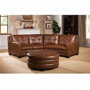 Oakbrook brown curved top grain leather sectional sofa and for Curved sectional sofa with ottoman