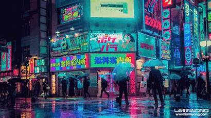 Tokyo Rain Ghoul Cyberpunk Neon Lights District