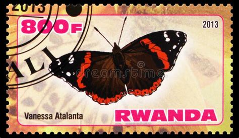 Postage Stamp Printed In Rwanda Shows Vanessa Atalanta ...