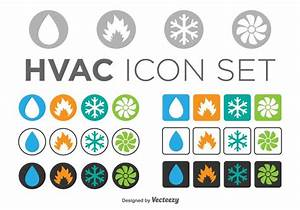 Set Of Hvac Icons  Circle And Square Templates