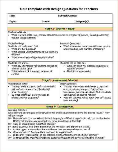 3 understanding by design lesson plan templateReport