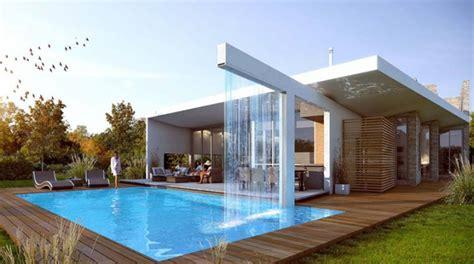 cuisine moderne blanche et maison design avec piscine fontaine