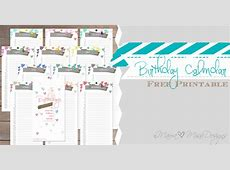 Birthday Calendar Custom Designed Free Printable by mama