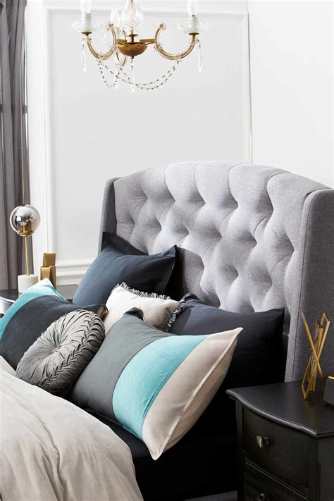 crawford upholstered bedhead light grey bedroom