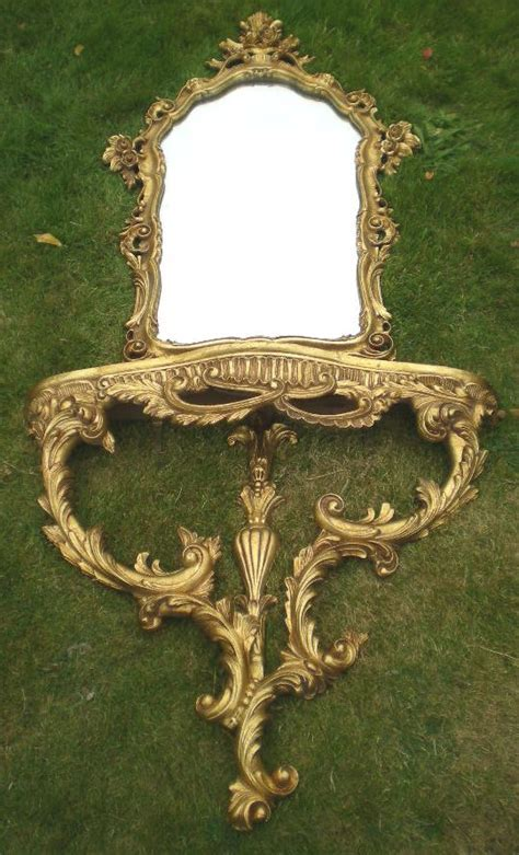 Ornate Gilt Framed Marble Top Console Table with Matching