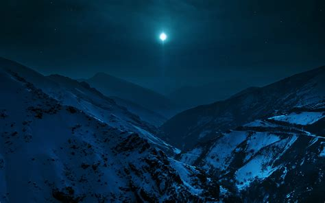 Snowy Mountain Desktop Wallpaper Landscapes Night Nature Moon Stars Sky Mountains Snow Cold Earth Wallpaper 3840x2400 650041